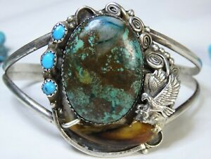 NAVAJO Boulder & SLEEPING BEAUTY TURQUOISE STERLING Silver FLYING EAGLE Cuff  🦅