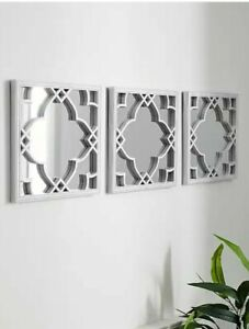 Silver Square Moroccan 3-Pack Trellis Quatrefoil Wall Decor Tile Mirrors