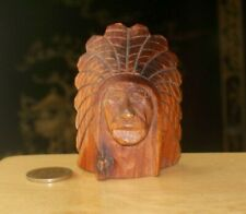 Vintage Small CARVED HEAD Wooden INDIAN CHIEF Headdress Folk Art Wood Americana