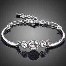 Rhodium Plated Swarovski Crystals Element Clear White Rhinestone Bracelet Bangle
