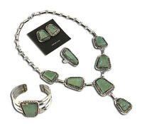 VTG Museum Navajo Signed Marc Begay Turquoise & .925 Silver Jewelry Set