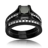 Women's .925 Sterling Silver Princess Cut Wedding Engagement Ring Band Set