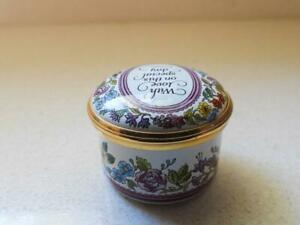"""Halcyon Days """"WITH LOVE ON THIS SPECIAL DAY"""" Beautiful Enamel Gold Ring Box"""
