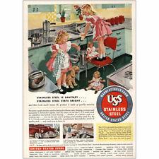 1948 United States Steel: Little Girls Dolls Steel Sanitary Vintage Print Ad