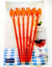 PACK OF 6 Dessert Spoon -Long Handle Plastic / Sundae /Soda Spoons - Red