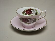English Fine Bone China Red and White Roses Footed Tea Cup and Saucer