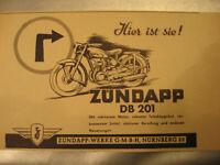 Motorrad Werbung Zündapp DB 201 Werke Nürnberg von 1951-Oldimer advertising
