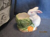 Vintage  White Bunny Rabbit and  Cabbage Bowl Planter Vase Really Cute !