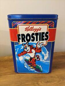 Kelloggs Frosties Retro Storage Tin Cereal Box Surfing Tony The Tiger 1991 Empty