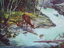 Vintage 1950s print Deer Fish Jumping Stream Scenic by Clarence Boyce Monegar