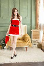 Women Girl Christmas Red Tube Top Santa Claus Mini Dress with Belt Xmas Costume