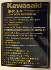 KAWASAKI GPZ550H CAUTION AIR SUSPENSION FORK LEG WARNING DECAL