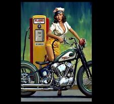 Vintage Harley Davidson Motorcycle PHOTO Poster Art Advertisement Busty Girl