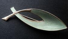 Norwegian Sterling Silver Abstract Green Enamel Brooch  -  Oystein Balle Norway