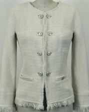 Rare Chanel 10A Tweed Ivory Classic Jacket Blazer NEW 40 Exquisite Coat Pearls