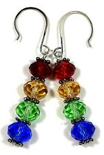 Bead Red Green Blue Christmas#378 Jewelry Earrings Silver Plate Crystal Glass