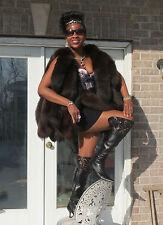 New Fab Desginer custom dark brown fox tails Fur Vest Sleeveless coat S-M 2-8