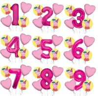 """Set of 5 Bouquet Peppa Pig Balloons 34"""" Number Balloon Magenta Pink"""
