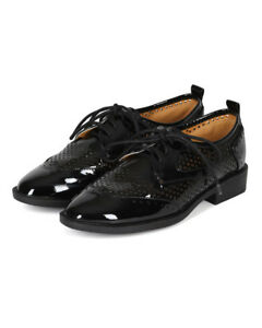 New Women Liliana Tita-1 Patent Perforated Lace Up Oxford Tuxedo Flat Shoe