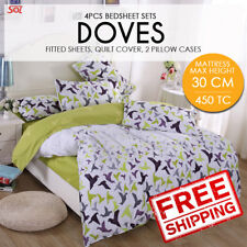 4 PCS Bedsheet Set- Doves King -1 Fitted Sheet+2 Pillow Cases+1 Quilt Cover