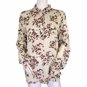 Carolina Belle Montreal Floral High Ruffle Neck Button Front Long Sleeve Top L