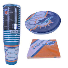 New NFL Miami Dolphins 60pc Disposable Paper Plates Cups Party Napkins Supplies
