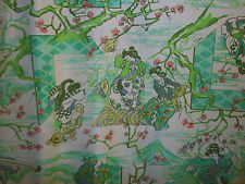 "Vintage Fabric Asian Geisha Print Crafts Sewing 54"" wide, By the Yard RNU Jersey"