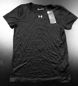 UNDER ARMOUR WOMENS CLASSIC SS SOLID BLACK 100% POLYESTER T-SHIRT SIZE: S *NWT*