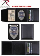 Tri-Fold Wallet Police Security Guard Badge Shield ID Black Leather Rothco 1134