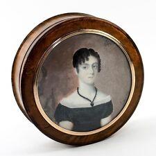 Antique French Portrait Snuff Box, Burled Casket, Napoleon Era Woman's Miniature