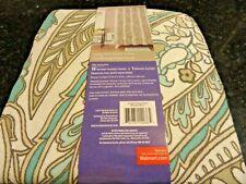 13 pc Fabric  SHOWER CURTAIN~Dusty Teal Aqua PAISLEY LEAF design~silver HOOKS