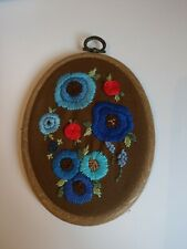 5 Inch Brown Floral Oval Embroidery Wall Hanging