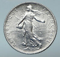 1918 FRANCE Antique Silver 1 Franc French Coin w La Semeuse Sower Woman i85283