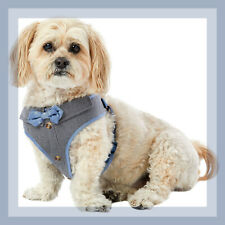 Top Paw  Handsome Blue Chambray Bow Tie Comfort Dog Harness Vest M