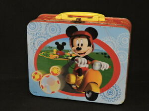 DISNEY VINTAGE MICKEY MOUSE ON SCOOTERMETAL  LUNCH BOX