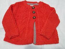 ❤ MINI BODEN girls sweater cardigan 4 5 acrylic salmon coral cable knit FREESHIP