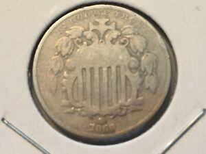 1869 Shield Nickel. Circulated.