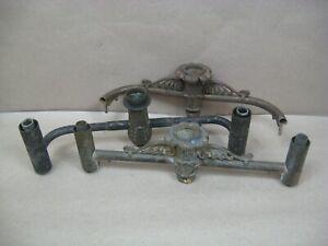 Antique 3 Bronze Argand Astral Oil Lamp Burner Arms Parts w/ Johnston Brookes