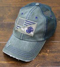 USMC United States Marine Corps - EGA / US Flag Patch Mesh Hat Olive & Navy