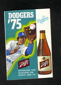 Los Angeles Dodgers--1975 Pocket Schedule--Schlitz