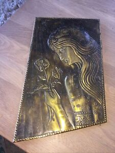 Arts And Crafts Brass Wall Plaque
