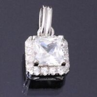 2 Ct Princess Diamond Brilliant Cut Pendant SOLID 14k White Gold Women Gift