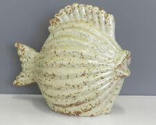 Pesce ceramica beige panna ambrato anticato decorazione soprammobile