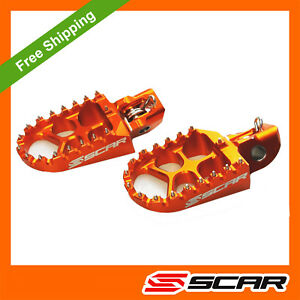 FOOTPEGS EVO KTM 125 150 250 300 350 450 500 EXC EXCF 2019 2020 2021 ORANGE SCAR