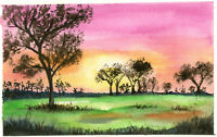 "Original Watercolor Painting 9 x 6"" Trees in Fields Not ACEO"