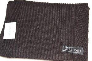 Calvin Klein Men's Black Ribbed Winter Acrylic Scarf NWT $55