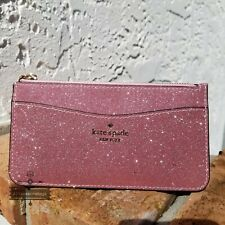 Kate Spade New York Lola Glitter Large Slim Card Holder Glitter Pink $119 Gift