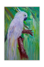 White Parrot Framed Canvas Prints Wall Art Pictures Bird Oil Painting Re-Print