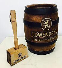 Oggetto Pubblicitario Birra Vintage LOWENBRAU Martello e Botte in legno