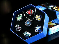 Anime Katekyo Hitman Reborn Vongola Cosplay Rings Necklace Gift Pendant 7pcs Toy